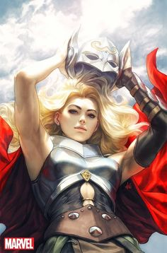 Variant cover art by Stanley Lau (Artgerm) for 'Mighty Thor' published March 2018 by Marvel Comics Marvel Dc Comics, Heros Comics, Bd Comics, Comics Girls, Marvel Vs, Marvel Heroes, Lady Thor, Thor Girl, Lady Sif