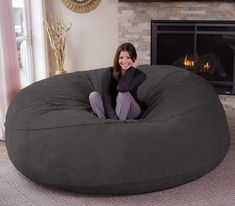 Chill Sack Bean Bag Chair: Giant 8' Memory Foam Furniture Bean Bag - Big Sofa with Soft Micro Fiber Cover - Grey Furry #CuteGiftIdeas #Gift #LazySofa