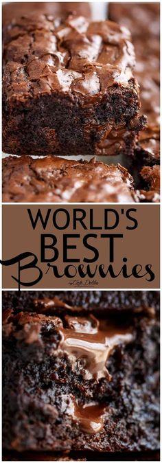Desserts - Worlds Best Fudgiest Brownies Cafe Delites Mini Desserts, Chocolate Desserts, Easy Desserts, Delicious Desserts, Yummy Food, Best Brownie Recipe, Brownie Recipes, Cookie Recipes, Dessert Recipes