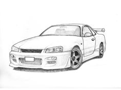 "18.	 Jerry He, Grade 12, ""Nissan R34 Skyline"", pencil and graphite, paper, 9""x12"""