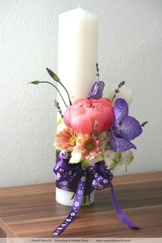 Decorated Candles, Candle Decorations, Baptism Candle, Candels, Babys, Flower Arrangements, Wedding Flowers, Planter Pots, Hair Beauty