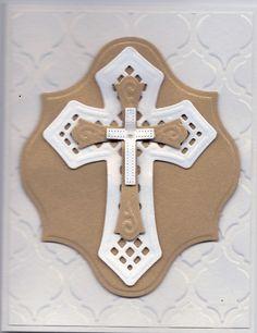 Spellbinder's Crosses 2 die set, gold ds paper, Shimmer Cardstock, SU Modern Mosiac embossing folder. Spellbinders Label Thirteen Die cut set.