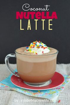 Coconut Nutella Latte from insidebrucrewlife. - easy coffee drink with Nutella and cream of coconut Nutella Recipes, Coffee Recipes, Pavlova, Yummy Drinks, Yummy Food, Latte, Easy Coffee, Cookies, Coffee Drinks