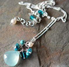 Aqua Chalcedony Necklace with Teal Quartz Apatite by hamptonjewels, $45.00