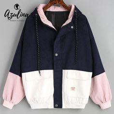 new style c6890 5c2af Azulina Corduroy Jacket Hooded Pachwork Long Sleeve Autumn Basic Jackets  Female Coat Zip Up Snap Button Windbreaker Jacket Women