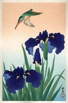 Kingfisher and Iris by Ohara Koson, 1926. Ohara Koson was a Japanese painter and printmaker of the late 19th and early 20th centuries, part of the shin-hanga movement.