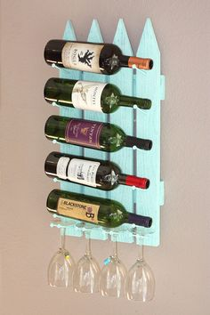 Wall Wine Rack 5 Bottle 4 Glasses Picket Fence by AdliteCreations