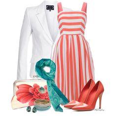 """Striped Dress/White Blazer"" by stylesbyjoey on Polyvore"