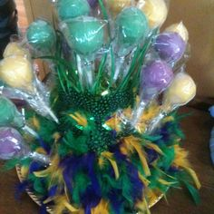 Mardi Gras cake pop stand    centerpieces ( favors)