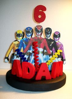 like the big letters. Power Ranger Cake, Power Ranger Party, Power Ranger Birthday, 4th Birthday Parties, 5th Birthday, Birthday Cake, Birthday Ideas, Power Rangers Samurai, Personalized Cake Toppers
