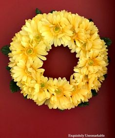 Yellow Dollar Store Daisy Wreath DIY Super easy way to make a floral wreath for about six dollars. Come see. Dollar Store Christmas, Dollar Store Crafts, Dollar Stores, Diy Spring Wreath, Diy Wreath, Wreath Ideas, Door Wreaths, Cheap Wreaths, Diy Garden Decor
