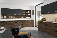 Create a kitchen showstopper with a Natural Walnut and Matt Graphite kitchen in our Lazio door style. The natural warmth of the walnut doors contrasted with the matt graphite means this modern classic is perfect for compact or large spaces. Kitchen Cabinets Hinges, Types Of Kitchen Cabinets, Kitchen Cabinet Door Styles, Replacement Kitchen Doors, Walnut Doors, Walnut Kitchen, Small Apartment Design, Stylish Kitchen, Kitchen Collection