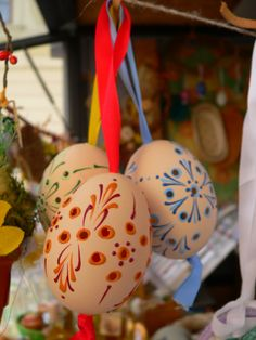 Beautiful decorated Easter Eggs. Bratislava Easter Market, Slovakia