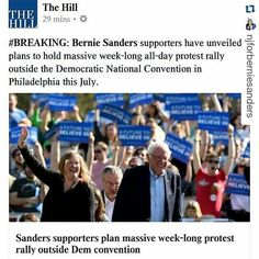 #Repost @njforberniesanders  Bernie Sanderss supporters have secured permits for four demonstrations near Julys Democratic National Convention according to a new report. The events will rally support for Sanderss message while Democrats select their presidential nominee in Philadelphia according toThe Wall Street Journal. Just another example of Bernie Sanders getting Americans to care about their rights and the Democratic Process again. A lot of people would not even care or have any faith…