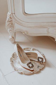 Lydia Elise Millen Custom Manolo blahnik Wedding shoes Winter Wedding 2017 Aynhoe Park #BridalAccessories
