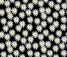 Daisies - Black/White/Mustard by Andrea Lauren fabric by andrea_lauren on Spoonflower - custom fabric