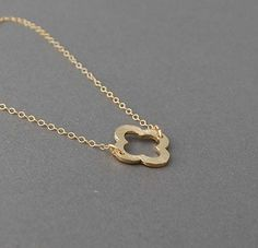 Double Connected Gold Clover Necklace Quatrefoil by jennijewel, $24.00