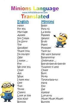 Despicable Me Minion Translator   couldn't find a list, so I made my own with what I found online ...