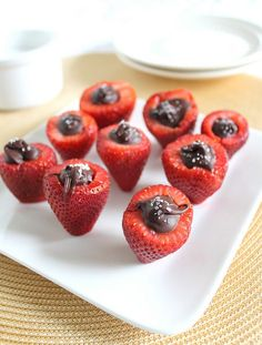 Chocolate Stuffed Strawberries with Sea Salt -- awesome dessert idea for Mother's Day!