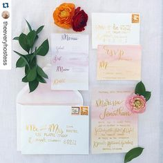 Romantic sunrise gold and watercolor brush lettered wedding invitation by Earnest Bee Calligraphy - #Repost @theeveryhostess with @repostapp. ・・・ Can't wait to share with you more of this gorgeous styled wedding shoot! See more #bts over on my snapchat @theeveryhostess {tap for the amazing vendors and people involved} #wedding #spring #styledshoot #springwedding #inspiration #bride #paper #invitation #calligraphy #moderncalligraphy