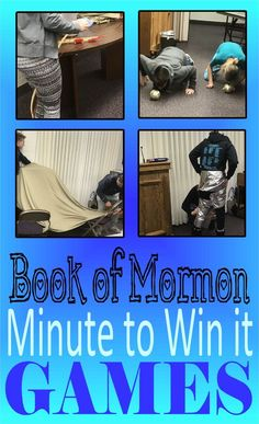 Every year for our Seminary Christmas party I like to have a game day. This year we did Minute to Win it Book of Mormon Games. Mutual Activities, Youth Group Activities, Youth Games, Young Women Activities, Activities For Boys, Church Activities, Indoor Activities, Summer Activities, Primary Games