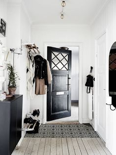 Black and white entry way