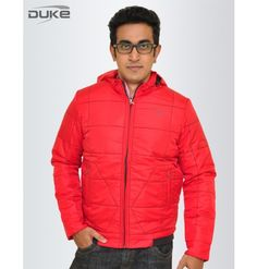 Stylish Duke Men Winter Solid Red Jacket