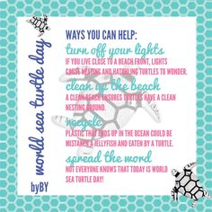 Today is #WorldSeaTurtleDay. Today is a day to honor and and highlight the importance of sea turtles.  Here are a few ideas of things you can do to help! #theresadayforeverything #wehaveacharmforthat brandieyost.origamiowl.com