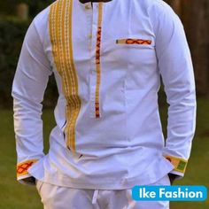 White and Black African Embroidery Men's wear