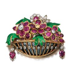 Enamel, ruby and diamond brooch, Early Century. Of giardinetto design set with oval and circular-cut rubies, decorated with guilloché green and grey enamel, and highlighted with circular- and single-cut diamonds of yellow and near colourless tint. Antique Jewelry, Vintage Jewelry, High Jewelry, Jewellery, Art Nouveau Jewelry, Diamond Brooch, Vintage Brooches, Cross Pendant, Diamond Cuts