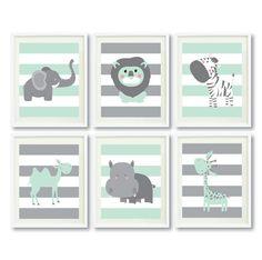 Safari Animals Art Print Set-Four or Six 8x10-11x14-Grey-Mint-White Nursery-Kids Room-Home Decor -Giraffe-Lion-Elephant-Hippo-Kangaroo-Zebra