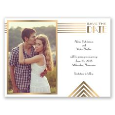 super modern faux foil style save the date card. stunning on shimmer paper or make it into a magnet.