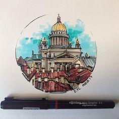 Питер, крыши #sketchingtime#archisketcher#arch_sketch#быстрыйскетч#крыши#крышипитера#citysketch#питернарисунке#скетчбук#sketchzone#topcreator#sketch_art#rotring #sketchwalker#архскетч#arch_sketcher