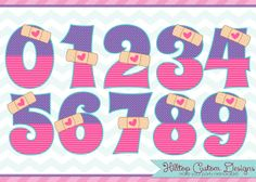 Doc McStuffins Inspired Boo Boo Numbers Clipart in JPG and PNG formats. Instant Download by HilltopCustomDesigns, $4.99