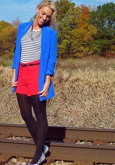 blue blazer, high waisted shorts