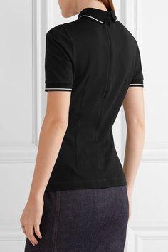 Dolce & Gabbana - Appliquéd Cotton-piqué Polo Shirt - Black - IT36