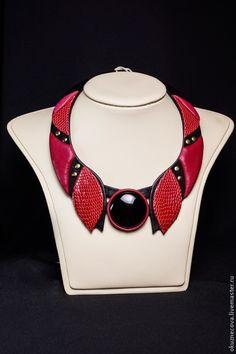 Купить Комплект украшений. Ожерелье и браслет из кожи Страсть - украшение, украшение из кожи, украшение на заказ