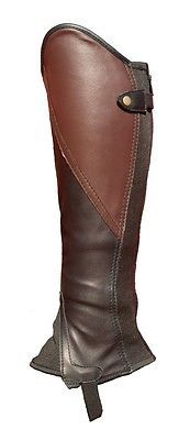 Gaiters Half Chaps 183383: Black And Brown Leather Comfort Classic Gaiters BUY IT NOW ONLY: $64.99