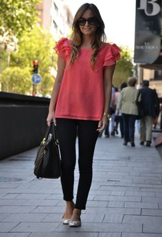 Office outfit - coral + black