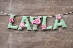 Felt name banner, Flamingo nursery decor, personalized felt letters, baby name banner, baby name garland, custom felt name, MADE TO ORDER by DreamCreates on Etsy https://www.etsy.com/ca/listing/276086918/felt-name-banner-flamingo-nursery-decor