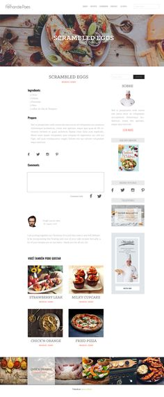 Blog Web Design for a Brazilian chef. This is the blog post page.