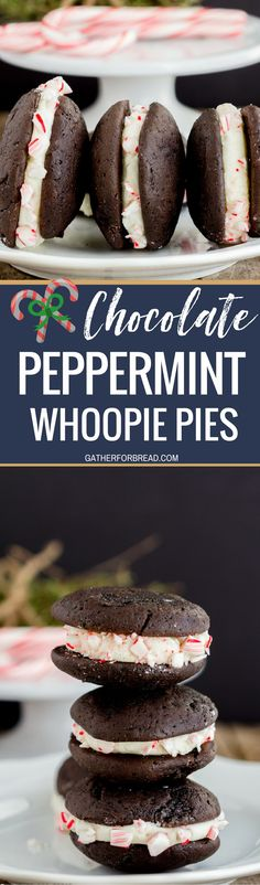 Chocolate Whoopie Pies with Peppermint Whipped Filling - Delicious Christmas inspired chocolate sandwich cookies filled with a whipped peppermint filling and rolled in crushed peppermint candy canes Perfect dessert to serve for the holidays.