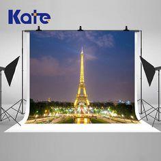 Eiffel Tower Paris Night Photography Backdrops Lighting City