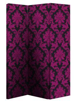 Black and Pink Damask Room Divider Screen
