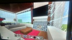 Living room with Big Screen Tv Big Screen Tv, Home Cinemas, Home Entertainment, Minecraft, Stairs, Entertaining, Living Room, Building, Home Decor