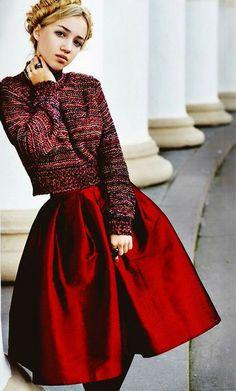 [wine red midi skirt]
