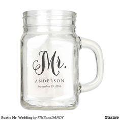 Wedding Mugs, Rustic Wedding, Wedding Ideas, Bride Gifts, Personalized Wedding, Mason Jars, Monogram, Fancy, Rustic Theme