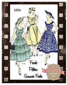 1950s Summer Dresses Sewing Pattern PDF Sewing by MyVintageWish