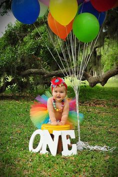 first birthday rainbow tutu. Great for birthday party cake smash photo sessions. Trolls Birthday Party, Rainbow Birthday Party, 1st Birthday Parties, Birthday Cake, 1st Birthday Photoshoot, 1st Birthday Pictures, Twins 1st Birthdays, Baby Girl First Birthday, Thing 1