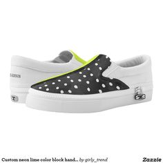 Custom neon lime color block hand drawn polka dots printed shoes